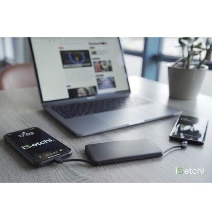 iSetchi 4-in-1 Powerbank 5000 mAh – Klein Formaat – Ingebouwde Oplaadkabels - iPhone - Micro USB - USB-C - Samsung - Android - USB – Zwart