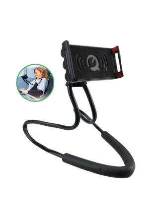 iSetchi Telefoonhouder Voor In Bed of op de Bank - 360 Graden Roteerbaar - Ook Voor Auto Bureau en Vliegtuig - Smartphone & GSM Houder Bed - Volledig Flexibel - Universeel - Zwart