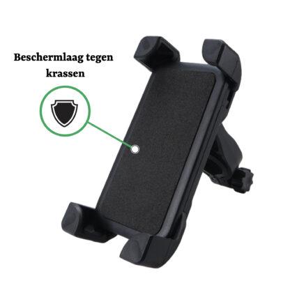 iSetchi Telefoonhouder Voor De Fiets - Universeel - 360 Graden Draaibaar- Smartphone & GSM Telefoon Fietshouder iPhone - Samsung - Houder ook Voor Scooter & Motor - Zwart