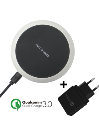 iSetchi Qi Draadloze Quick Charge 3.0 Oplader - Bureaulader met Snelladen – Draadloos Opladen Dock 15W – iPhone - Samsung - Android - Zilver