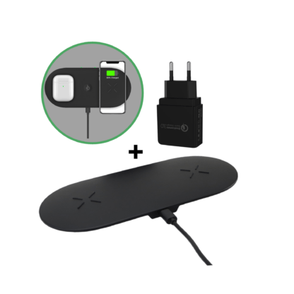 iSetchi 2-in-1 Qi Draadloze Oplader - Bureaulader - Oplaadstation Met Snelladen - Quick Charge 3.0 Adapter– iPhone - Samsung & alle Qi telefoons - Zwart
