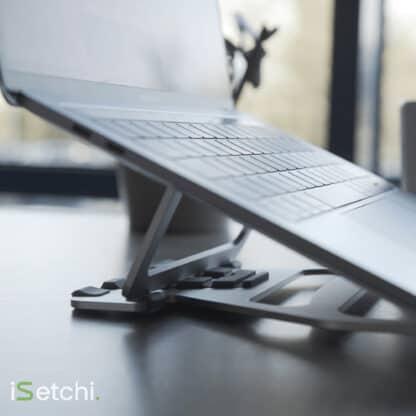 iSetchi Laptop Standaard Verstelbaar van Aluminium - Opvouwbaar - Voor 13 en 15 Inch - Notebook - Macbook Air Pro Stand - Zilver