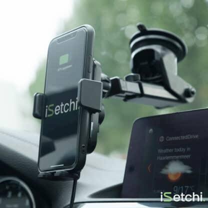 iSetchi Draadloze Oplader Auto met Smart Infrarood Sensor - Qi Autolader & Autohouder - Automatische Infrarood Detectie Houder voor iPhone Samsung en alle Qi Telefoons - Wireless Car Charger