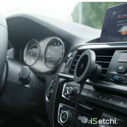iSetchi Draadloze Autolader - Qi Oplader (Snellader Zwart) - Ventilatierooster - Wireless Fast Charger