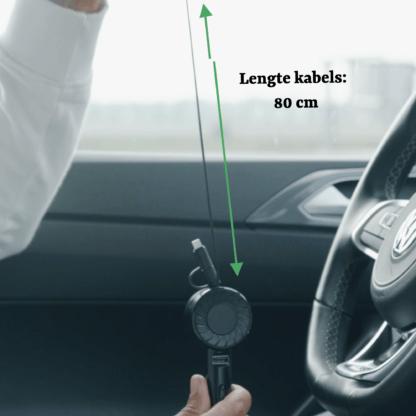 iSetchi 3-in-1 Autolader met zelf-terugtrekkende oplaadkabels (80CM) - Oplader Voor iPhone - Samsung - Android - USB-C - Micro USB - USB Poort - 4.2A - 18W- iPad - Smartphone Lader - GSM USB Auto Kabel - Zwart