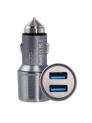 iSetchi Quick Charge 3.0 dubbele USB Auto Oplader Metaal 36W - 12V / 24V Sigarettenaansteker Poort Autolader- Twee poorten Adapter - LED indicatie - iPhone Apple - Samsung - Huawei - Lader