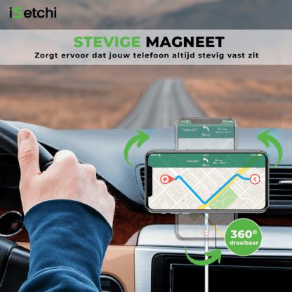 iSetchi MagSafe Telefoonhouder Auto met Draadloze Oplader Magnetisch (15W Snellader) - Inclusief Quick Charge 3.0 USB Oplader – Qi Autolader Draadloos opladen - iPhone 12