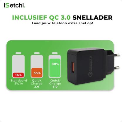 iSetchi 3-in-1 Qi Draadloze Oplader - Bureaulader - Oplaadstation Met Snelladen - Quick Charge 3.0 Adapter– iPhone - Samsung & alle Qi telefoons - Zwart