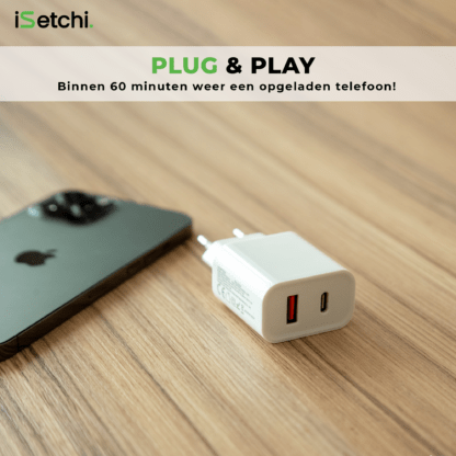 iSetchi MagSafe Draadloze Telefoon Oplader – Inclusief PD (Power Delivery) 20W USB-C + USB Dubbele Poort Oplader – Snellader Qi Magnetisch iPhone 12 – Ultradun design – Anti-Slip laag - Wit (2021)