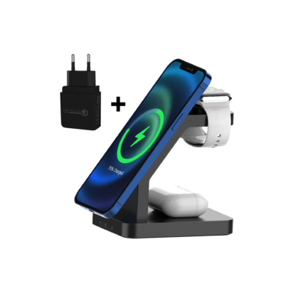 iSetchi ® 3-in-1 Draadloze Oplader - Oplaadstation Inclusief Oplaadstekker –MagSafe Smartphone – Apple Watch Snellader – Qi oplader – Airpods – Buds – Android – Samsung - Zwart